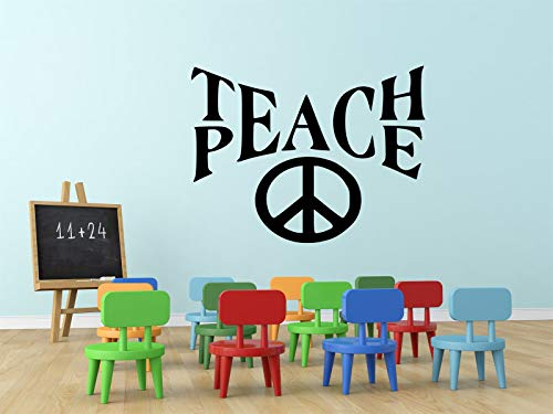 BYRON HOYLE Teach Peace Wall Decal Sticker Inspirational Teacher School Principal Family Room Classroom Learning Center Children's Bedroom 13