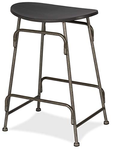 Hillsdale Mitchell Backless Non-Swivel Counter Stool, Dark Weathered Gray