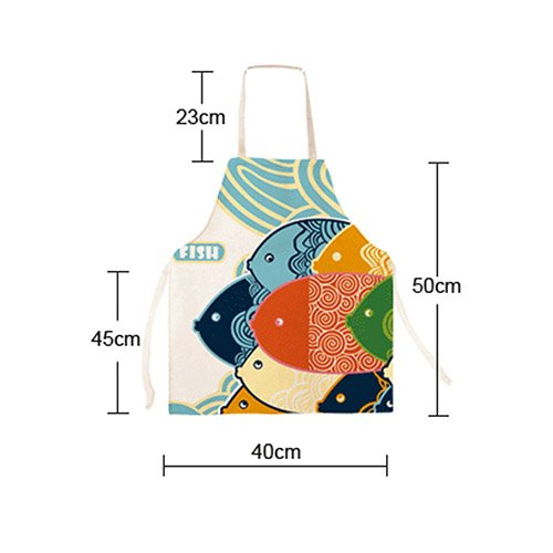 FSK Lovely Cartoon Pattern Apron Burlap Cotton Kids Apron Chef Kitchen Cooking Apron for Child