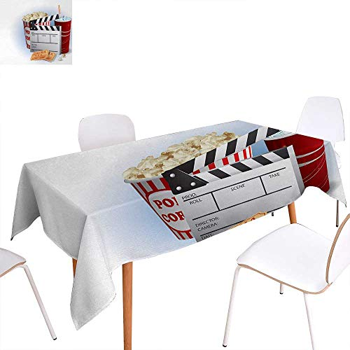 Warm Family Movie Theater Washable Tablecloth Soda Tickets Fresh Popcorn and Clapper Board Blockbuster Premiere Cinema Waterproof Tablecloths 50