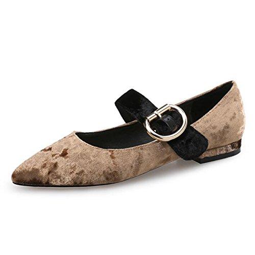 ZZZJR Sandalias de las mujeres Tela del paño grueso y suave Zapatos de Mary Jane Correa cruzada del tobillo de las mujeres Correas cruzadas del talón grueso Sandalias medias Marrón