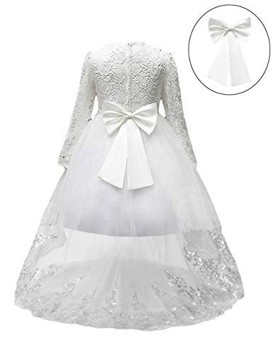 21KIDS Flower Girl for Weddings Easter Long Sleeves Lace Pageant Communion Dress White 11-12 Years]()