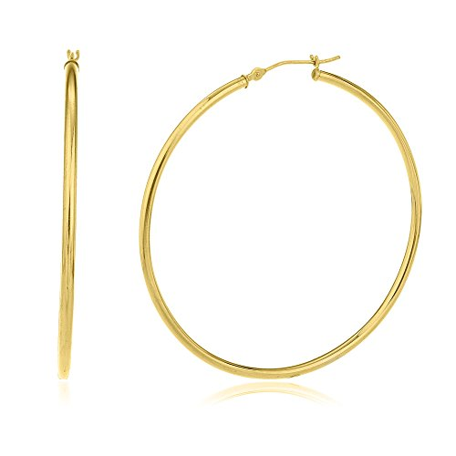 10k Yellow Gold 2mm 2 Inch (50mm) Basic Pin Catch Hoop Earrings (GO-540) ()