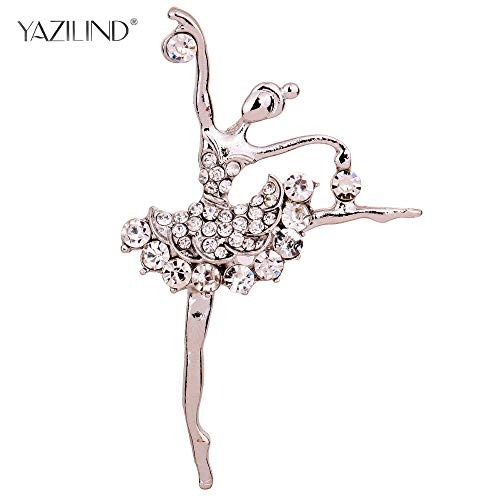 Ballet Dancer Ballerinas Brooches Women Girls Cachecol Hijab Pin Up Clips Scarf Hats Shoulder Corsages Bouquet Silver -