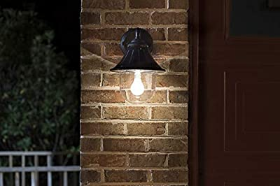 GAMA SONIC Orion Solar Wall Light, Outdoor Sconce, Black (GS-123W)