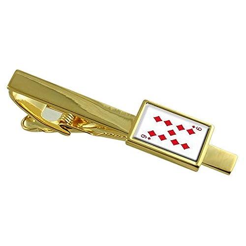 0ba4efbd7e92 Diamante número 9 naipes tono Oro Clip de corbata Cuadro de Mensaje grabado  Chic