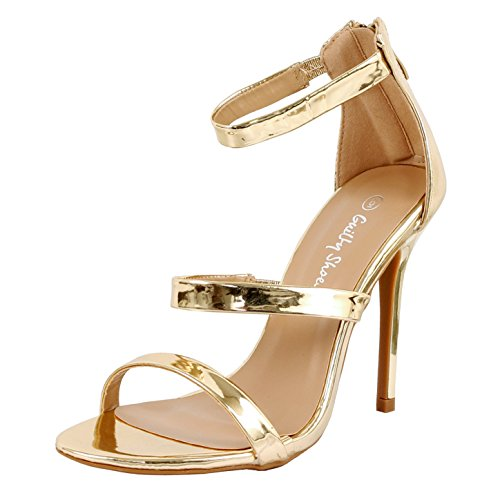 Guilty Shoes Women Sexy Metallic Ankle Strap Zip Up Dress - Open Toe Stiletto Sandals (9 B(M) US, Gold PU) Sexy Gold Pu Women Shoes