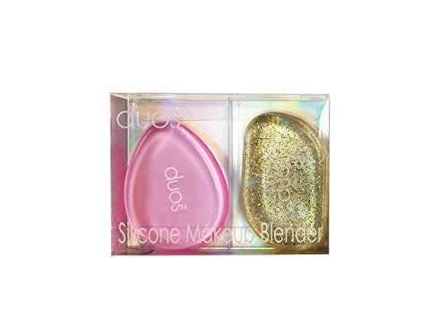 Duos 2pc Soft Silicone Gel Foundation Makeup Cosmetic Blender Sponge Puff Tool Sets (SS PGC: Pink and Gold Glitter) Ss Glitter