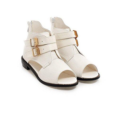 AllhqFashion Mujeres Puntera Abierta Cremallera Sólido Sandalias de vestir Blanco