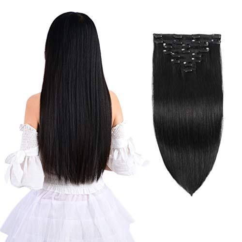 "12"" Remy Clip in Hair Extensions Human Hair Natural Black for Women Beauty - Long Silky Straight 8pcs 20clips Real Hair Extensions Clip In Human Hair (12 inch 100g #1B Natural Black)"