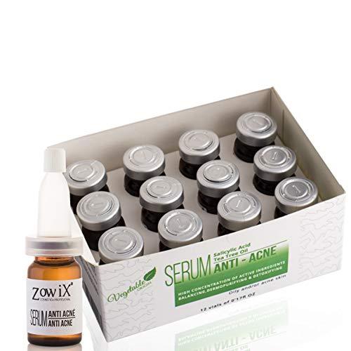 ZOWIX Tratamiento Anti Acne con Acido Salicilico Serum facial contra el acne que reduce Espinillas, Puntos Negros y Granos Natural para Acne juvenil y adulto 60 ml
