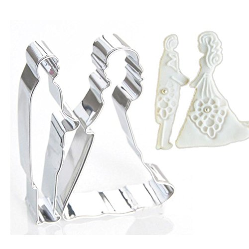 Bride Groom Shape Metal Cookie Cutters Mold Cake Chocolate Egg Fondant Mould Biscuit Pastry Set Party Kitchen DIY Tools (Bowling Pin Party Container compare prices)