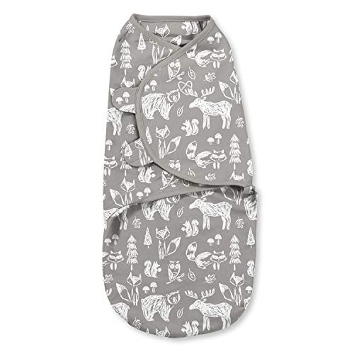 SwaddleMe Original Swaddle Pack of 1, 100% Cotton Adjustable Baby Wrap, Chalkboard Woodland, Small (0-3 Months, 7-14 lbs, up to 26)