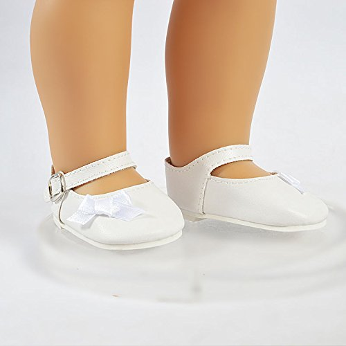 [Doll Shoes White Bowknot Shoes Pumps fits American Girl doll no Clothes Doll Accessories] (Chucky Costume Shoes)
