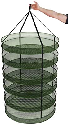 """Advanced Nutrients 3"""" Thickest Best Quantity Steel Rings Foldable Heavy Duty Hanging Dryer Rack, Collapsible Mesh Hydroponic Drying Rack Net w/ Clips&Storage Carrying Bag"""