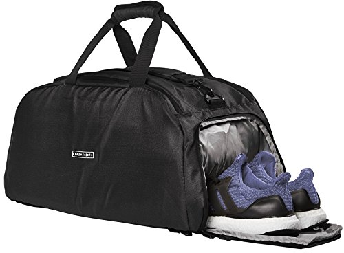 Ronin's 3in1 Sporttasche Reisetasche mit Schuhfach + Rucksack-Funktion + Laptopfach   38 Liter Handgepäck Weekender   für Männer und Frauen   Spacegrau 2018