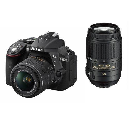 ニコン D5300 ブラック ダブルズームキット AFS DXニッコール1855mm f3.55.6G VR IIAFS DXニッコール55300mm f4.55.6G ED VR