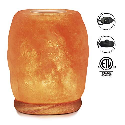 Himalayan Glow 942BC Natural Aroma Therapy Salt Lamp with Neem Wooden Base and Salt Light Bulb