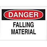 Brady 10'' X 14'' X 1/10'' Black/Red On White .0984'' B-120 Fiberglass Machine And Operational Sign''DANGER FALLING MATERIAL''