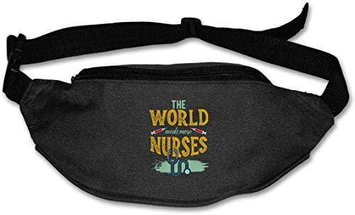 世界にはさらに多くの看護師が必要ユニセックスアウトドアファニーパックバッグベルトバッグスポーツウエストパック