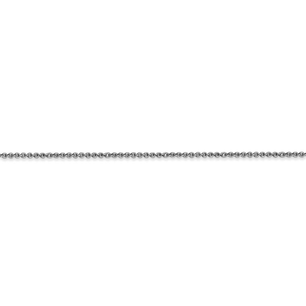 Mia Diamonds 18k White Gold Leslies 1.15mm Solid Diamond-Cut Cable Chain Necklace