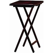 PJ Wood Folding TV Tray Table in Espresso Color