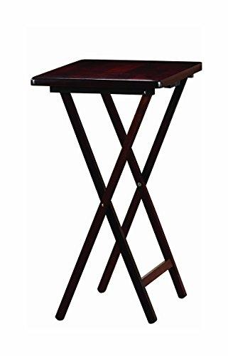 PJ Wood Folding TV Tray & Snack Table - Espresso Finish Rubberwood by PJ Wood