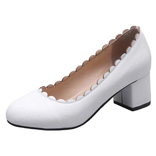 TAOFFEN Femmes Bout Rond Escarpins white