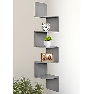 Greenco 5 Tier Wall Mount Corner Shelves Gray Finish