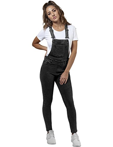 Donna Classics Nero 706 Ladies Black Urban Dungaree Salopette Acid dIRRwX