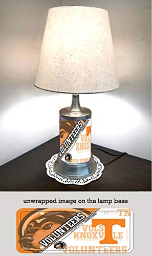 JS Table Lamp with Shade, Tennessee Volunteers Plate Rolled in on The lamp Base