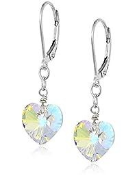 Sterling Silver Swarovski Elements Aurora Borealis Heart-Shape Drop Earrings