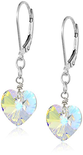 Sterling Silver Swarovski Elements Crystal Aurora Borealis Heart Shape Drop Earrings (Silver Heart Crystal Sterling Earrings)