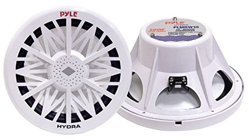 12' Marine 600w (Single Outdoor Marine Audio Subwoofer - 600 Watt 12 Inch White Waterproof Bass Loud Speaker For Marine Stereo Sound System, Under Helm or Box Case Mount in Small Boat, Marine Vehicle - Pyle PLMRW12)