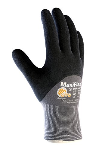 MaxiFlex Ultimate 34-875/XL Seamless Knit Nylon/Lycra Glove with Nitrile Coated Micro-Foam Grip on Palm, Fingers and Knuckles, Pack of 12