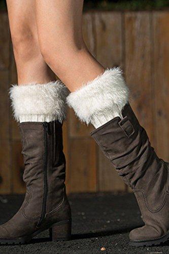 Women Winter Soft Furry Crochet Knitted Boot Cuffs Toppers Short Leg Warmer White 07yeVwoqK