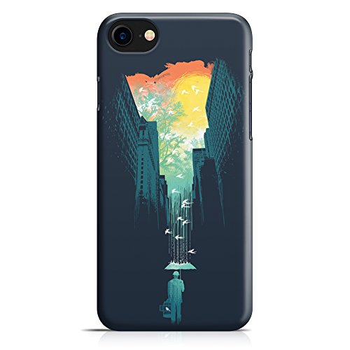 Cover Custodia Protettiva Case Illustrazione Uomo Pioggia Ombrello Art Rain Design Shadow per Iphone 7 - Iphone 7 Plus -Iphone 8 - Iphone 8 Plus - Iphone X