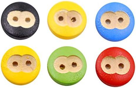 Artibetter 縫製ボタン 木製ボタンカラフル 手芸材料 DIY 縫製材料 飾りボタン 装飾ボタン 200枚セット