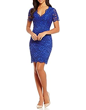 CALVIN KLEIN Woman's Plus Size V-Neck Floral Lace Dress. (Atlantis)