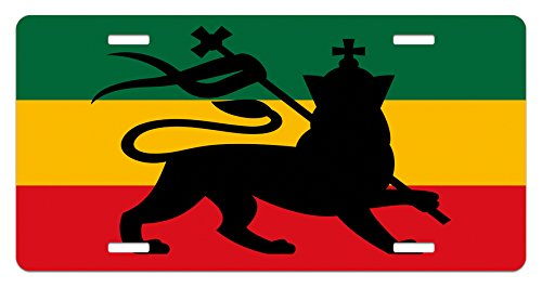 Ambesonne Rasta License Plate, Rastafarian Flag with Judah Lion Reggae Music Inspired Design Image, High Gloss Aluminum Novelty Plate, 5.88 L X 11.88 W Inches, Black Red Green and Yellow
