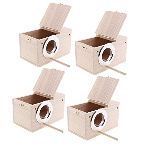 Flameer 4Pcs Wood Wild Bird Nest Box Nesting Feeding Feeder Station House and Stick
