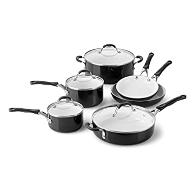 Calphalon 10 Piece Ceramic Nonstick Cookware Set, Medium, Black