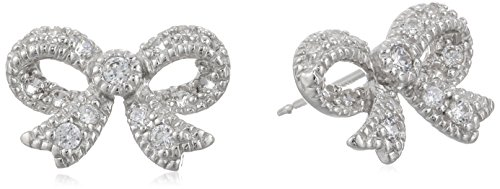Sterling Silver Cubic Zirconia Pave Bow Stud Earrings