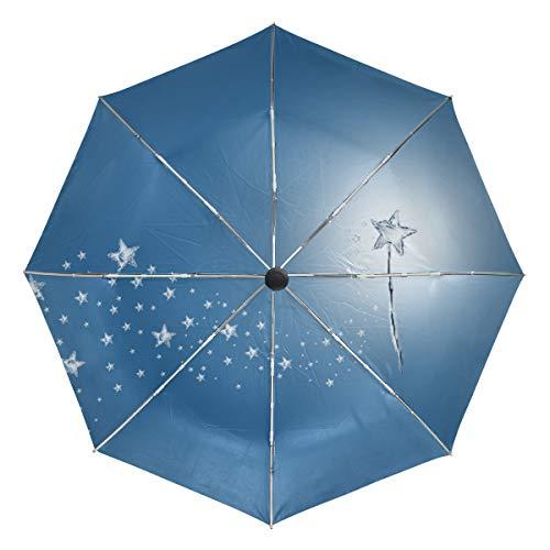 Magic Wand Stars Unique Novel Auto Open Close Umbrella Compact Outdoor Travel Umbrella Resistant To Wind, Rain And UV