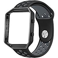 LoveBlue for Fitbit Blaze Band,Fitbit Blaze Sports Silicone Bracelet Strap Wristband Replacement Band Watchband with Frame for Fitbit Blaze (Black&Grey+Black Frame-Large)