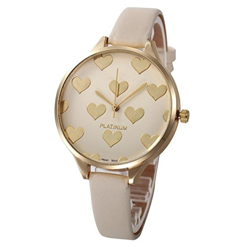 (Balakie Women's Watch, Ladies Watch Casual Heart Pattern Small Faux Leather Quartz Analog Wrist Watch Xmas Gift (Beige, Alloy))