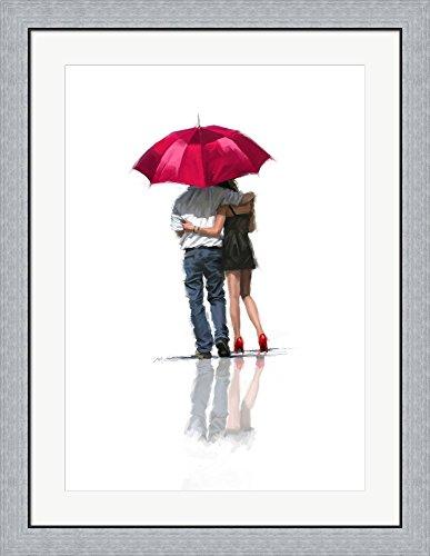 Couple Under Umbrella by The Macneil Studio Framed Art Print