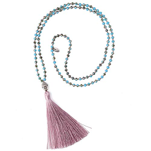KELITCH Crystal Silver Buddha Head Tassel Color Necklace for Womens Summer (Brown)