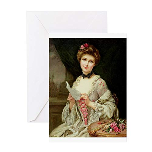 CafePress Society Lady With Love Letter Greeting Card, Note Card, Birthday Card, Blank Inside Glossy ()