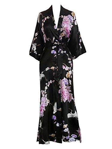 French Floral Robe - Old Shanghai Women's Kimono Long Robe - Chrysanthemum & Crane - Black